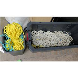 Qty 2 Bins Industrial Rope: Yellow Nylon & White Cord