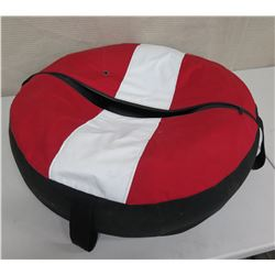 "Round Red & White Dive Flag Zippered Bag 28"" Diameter"