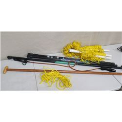Qty 3 Boardworks & Wooden Paddle Push Poles & Nylon Rope
