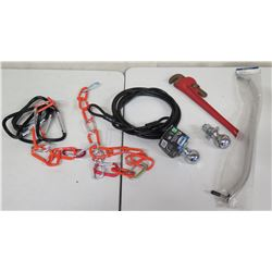 Qty 2 Vehicle Ball Hitches, Chain, Pipe Wrench & West Marine Handrail