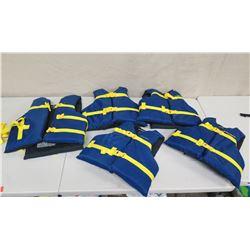 Qty 5 West Marine Life Vests