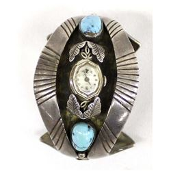 Navajo Sterling Turquoise Watch Bracelet by Dodge