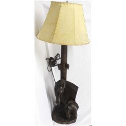 1995 Carved Ironwood Horse Lamp