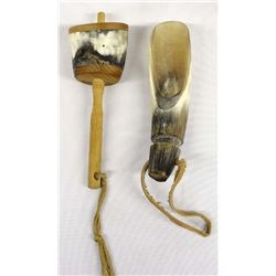 Native American Onondaga Horn Scoop and Rattle