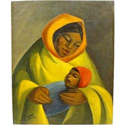 Original Bolivian Painting of Mother and Child