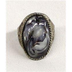 Navajo Sterling Botswana Agate Ring, Size 12.5