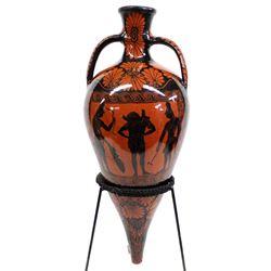 Greek Black Figureware Rhyton Vase with Stand
