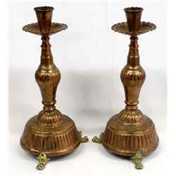 Vintage Stamped Copper Footed Candlestick Holders