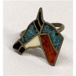 Vintage Navajo Sterling Chip Inlay Horse Ring