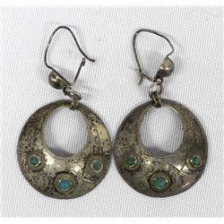 1950s Vintage Navajo Sterling Silver Turquoise Earrings