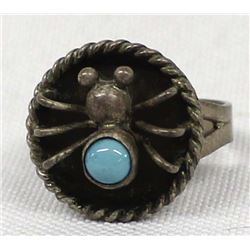 Navajo Sterling Turquoise Spider Ring by Emerson Kinzel, Size 8.5