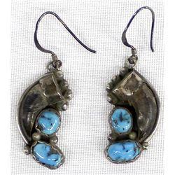 Vintage Navajo Sterling Morenci  Turquoise Earrings