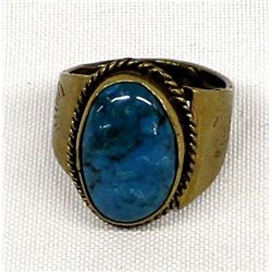 Navajo Sterling Turquoise Ring, Size 14.25