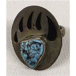 Vintage Navajo Sterling Turquoise Bear Paw Ring