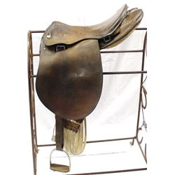 Vintage English Leather Saddle, stand does not go with saddle (negotiable)