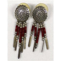 Quoc Turquoise Company Sterling Concho Earrings