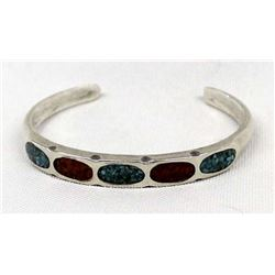 Vintage Navajo Sterling Chip Inlay Bracelet
