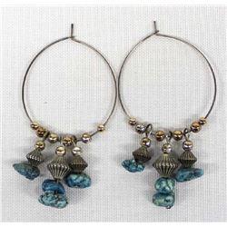 Turquoise Nugget Hoop Earrings