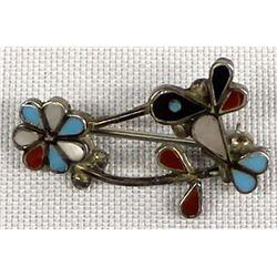 Zuni Sterling Inlay Hummingbird and Flower Pin