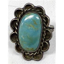 Vintage Navajo Sterling Turquoise Ring, Size 6