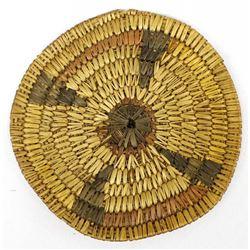 Native American Jicarilla Apache Two Toned Flat Basket