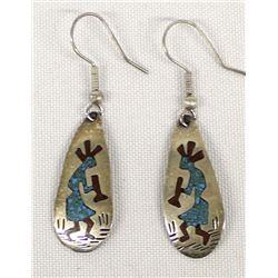 Vintage Navajo Sterling Inlay Kokopelli Earrings