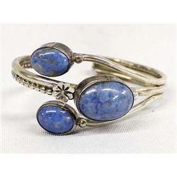 Navajo Sterling Silver Denim Turquoise Bracelet