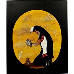 Original Native American Acrylic Painting, Ortiz
