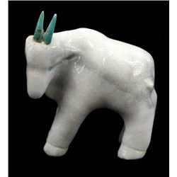 Zuni White Marble Rocky Mountain Goat Fetish by Bryston Bowannie
