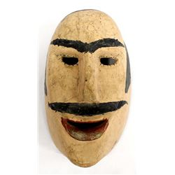 Vintage Mexican Carved Wood Man's Face Mask