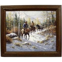 Framed Jack Terry Western Art Print ''Early Snow''