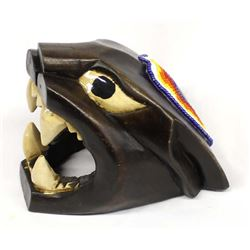 Mexican Carved Wood Black Panther Mask