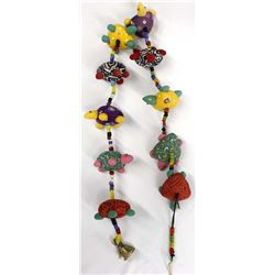 Mexican Good Luck String Colorful  Cloth Turtles w/ Brass Bell