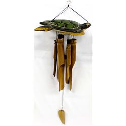 Indonesian Carved Wood Turtle Bamboo Windchime