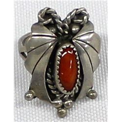 Navajo Sterling Coral Ring, Size 6