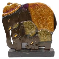 Large Indonesian Carved Wood Elephant Sculpture