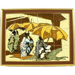Heavy Arican Tourists on the Beach Framed Ceramic Tile Picture