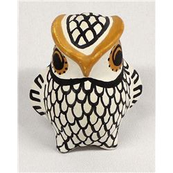 Native American Acoma Pottery Owl by L. Vallo