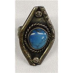 Vintage Navajo Sterling Turquoise Ring, Size 7.75