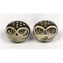 2 Ceramic Pottery Owls