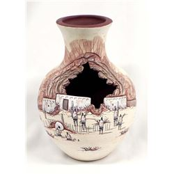 Native American Designed Pottery Vase by T Kelson