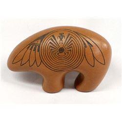 Navajo Carved Ceramic Pottery Bear by J. Benally