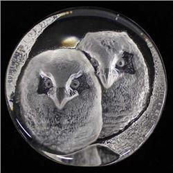Swedish Mats Jonasson Lead Crystal Owl Figurine