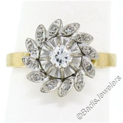 Vintage 18kt White and Yellow Gold Diamond Swirl Flower Cluster Ring