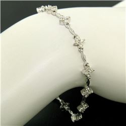 18K White Gold 1.65 ctw Diamond Flower Cluster Twisted Wire Link Tennis Bracelet