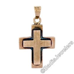 Victorian 8kt Rose Gold Reversible Brushed Finish Cross Pendant