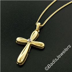 Italian 18kt Yellow Gold Round Diamond Polished Cross Pendant Necklace