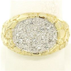 NEW Mens 14K Two Tone Gold Nugget Texture .60 ctw Oval Round Diamond Cluster Rin