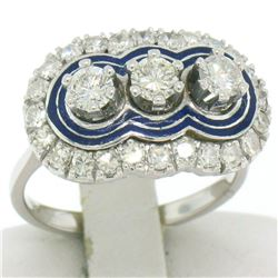 Vintage 18kt White Gold and Blue Enamel 1.15 ctw Diamond Ring