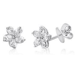 18k White Gold 1.06CTW Diamond Earrings, (SI1-SI2/G-H)